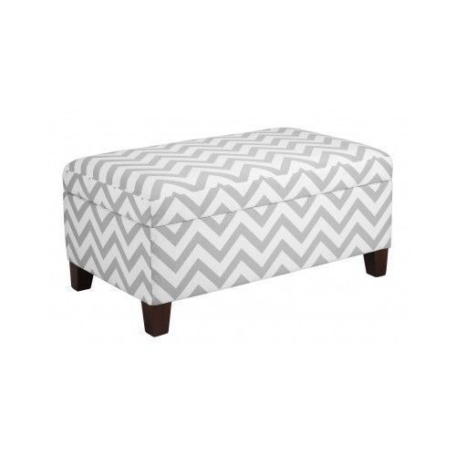 Incredible Chevron Storage Ottoman Gray White Zig Zag Seating Foot Rest Ocoug Best Dining Table And Chair Ideas Images Ocougorg