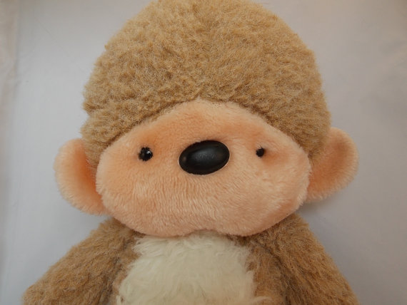 "Plush Monkey Vintage Mervyns 14"" Stuffed Animal Brown Beige Fuzzy."