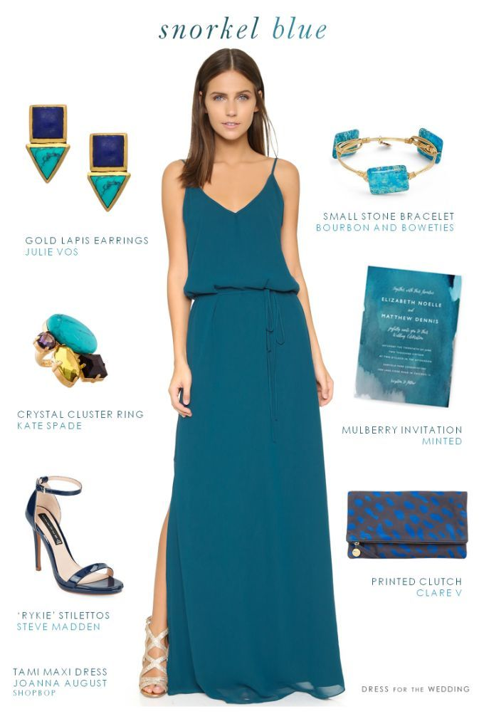 Dark turquoise maxi dress summer wedding guest outfits for Shoes for maxi dress wedding