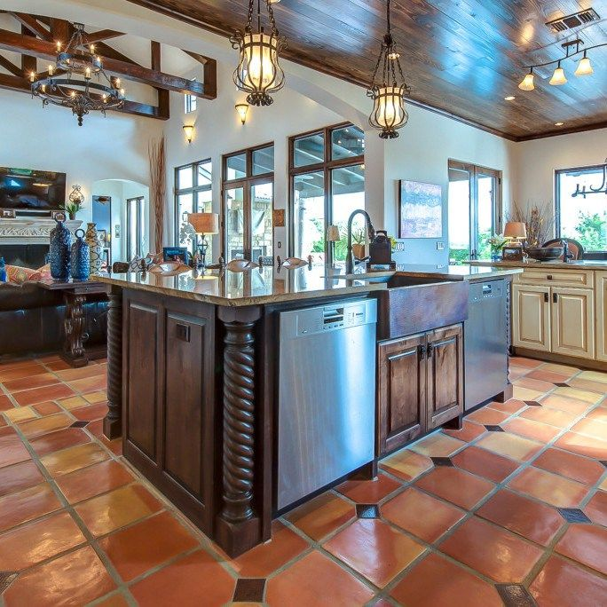 Kitchen Tiles Square: Kitchenisland_saltillo_square_12x12_traditional
