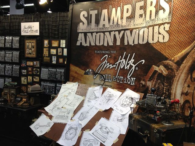Lots of tim holtz examples using his stamps!  cha-winter 2013 recap stampers anonymous