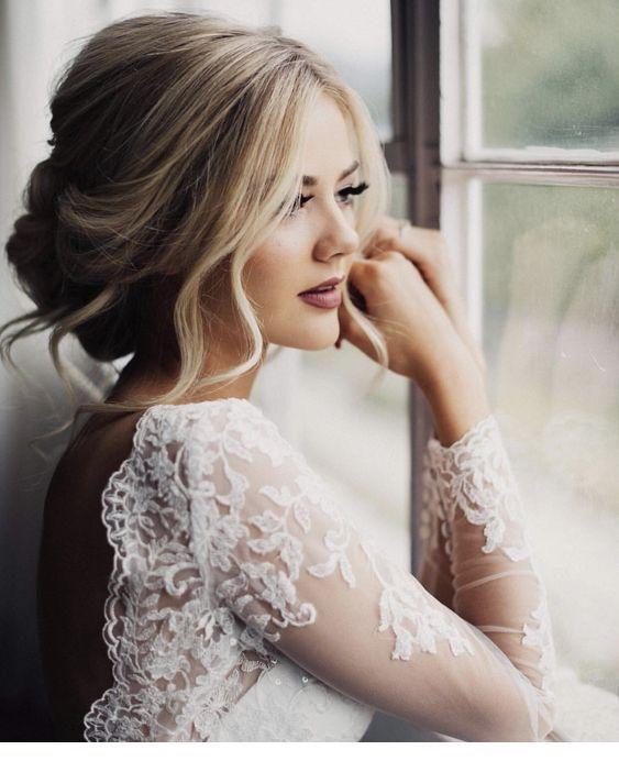 Photo of Nice wedding dress backless with lace #WeddingHairMediumLength