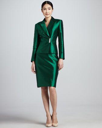 Pleated Jacket Skirt Suit By Tahari At Neiman Marcus