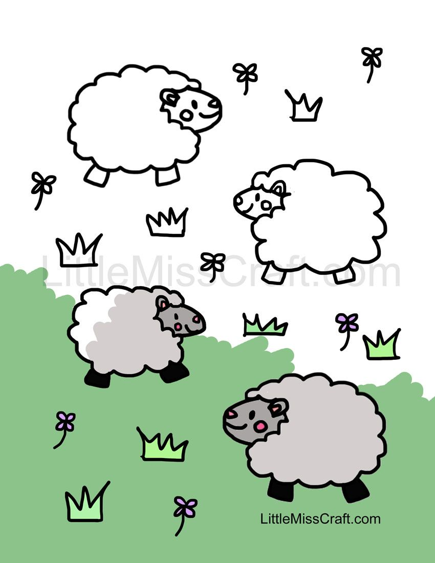 Cute sheep coloring page! http://littlemisscraft.com ...