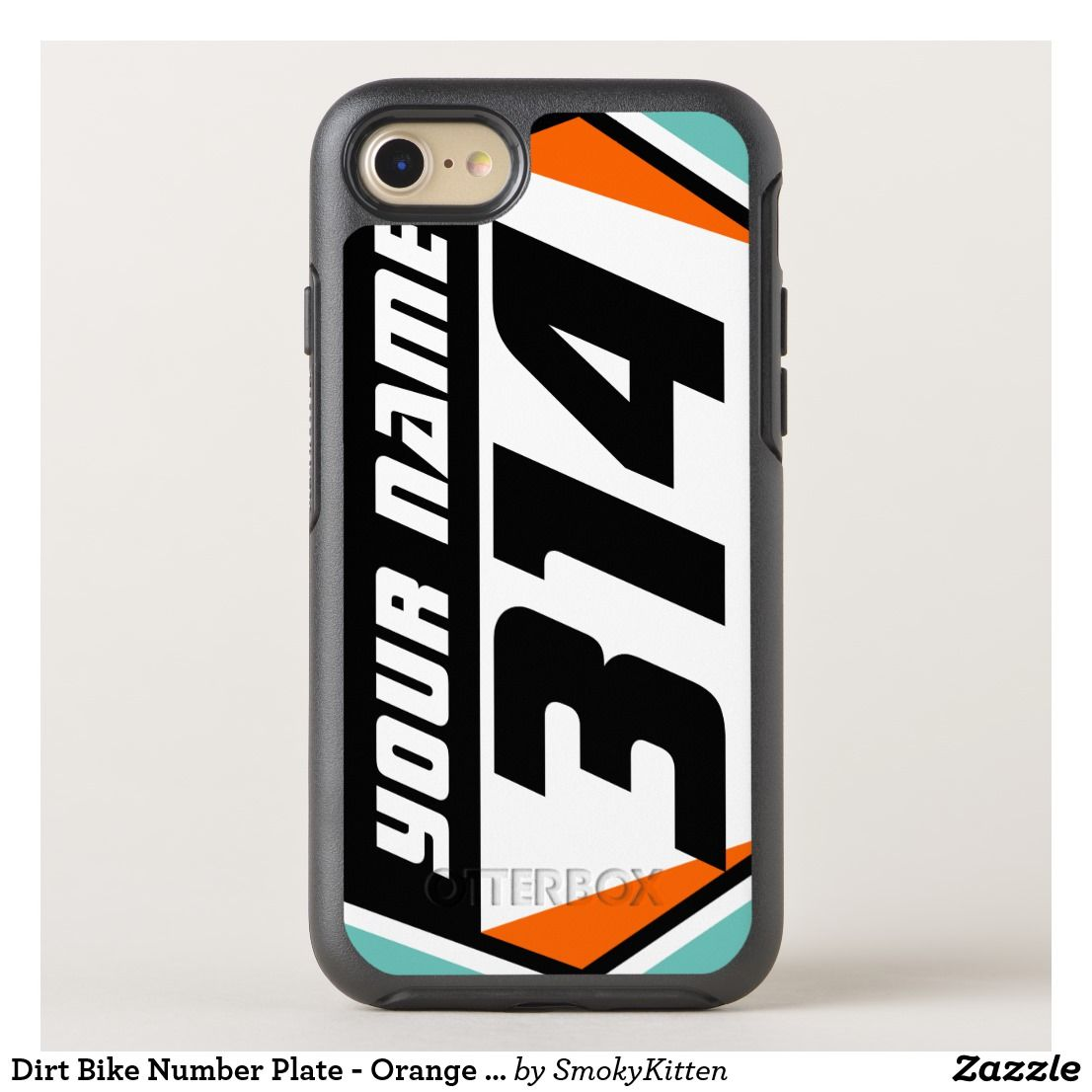 Dirt Bike Number Plate Orange Black Number Otterbox Iphone