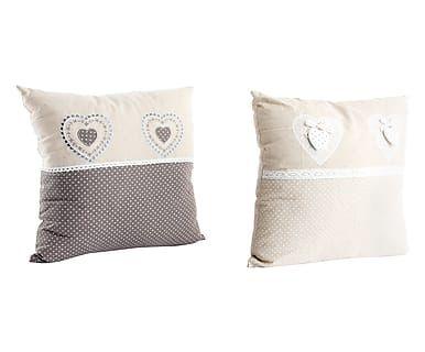 Set di 2 cuscini arredo in misto lino e cotone naturale e nero, 40x10x40 cm