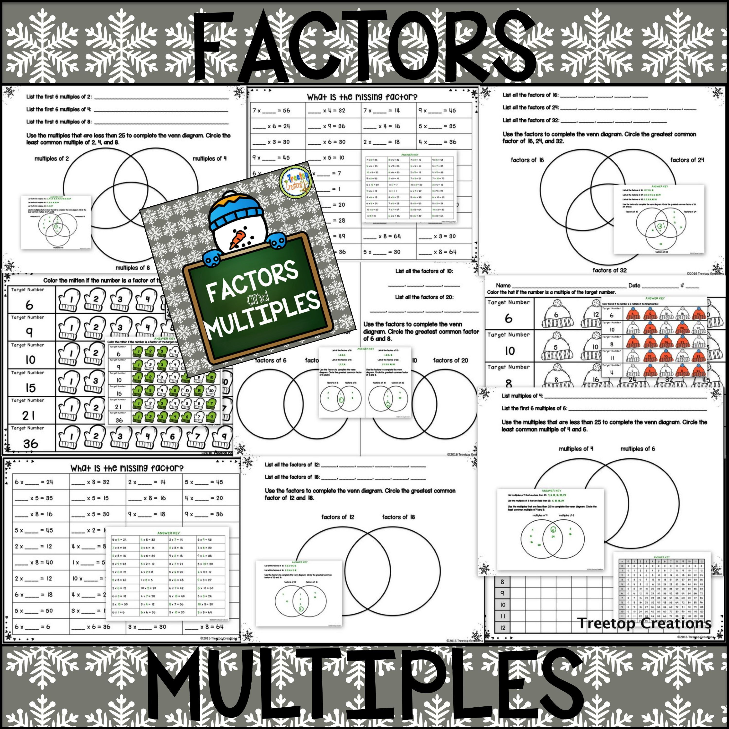 Factors And Multiples No Prep Winter Theme