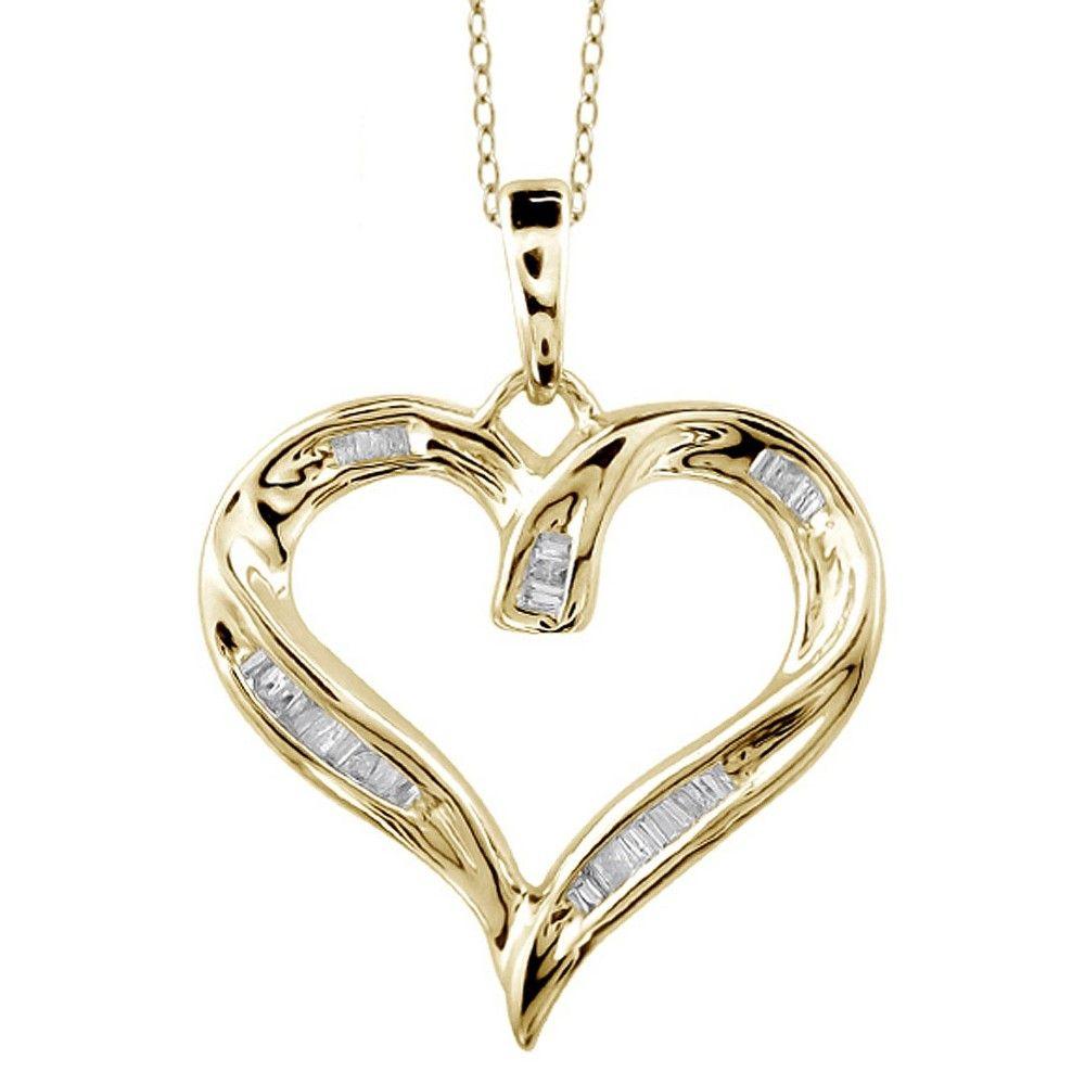 ct tw baguettecut white diamond channel set heart pendant