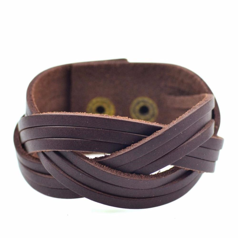 Vintage Braided Genuine Leather Bracelet Men Fashion Punk Wide Cuff  Bracelets & Bangles For Men Jewelry