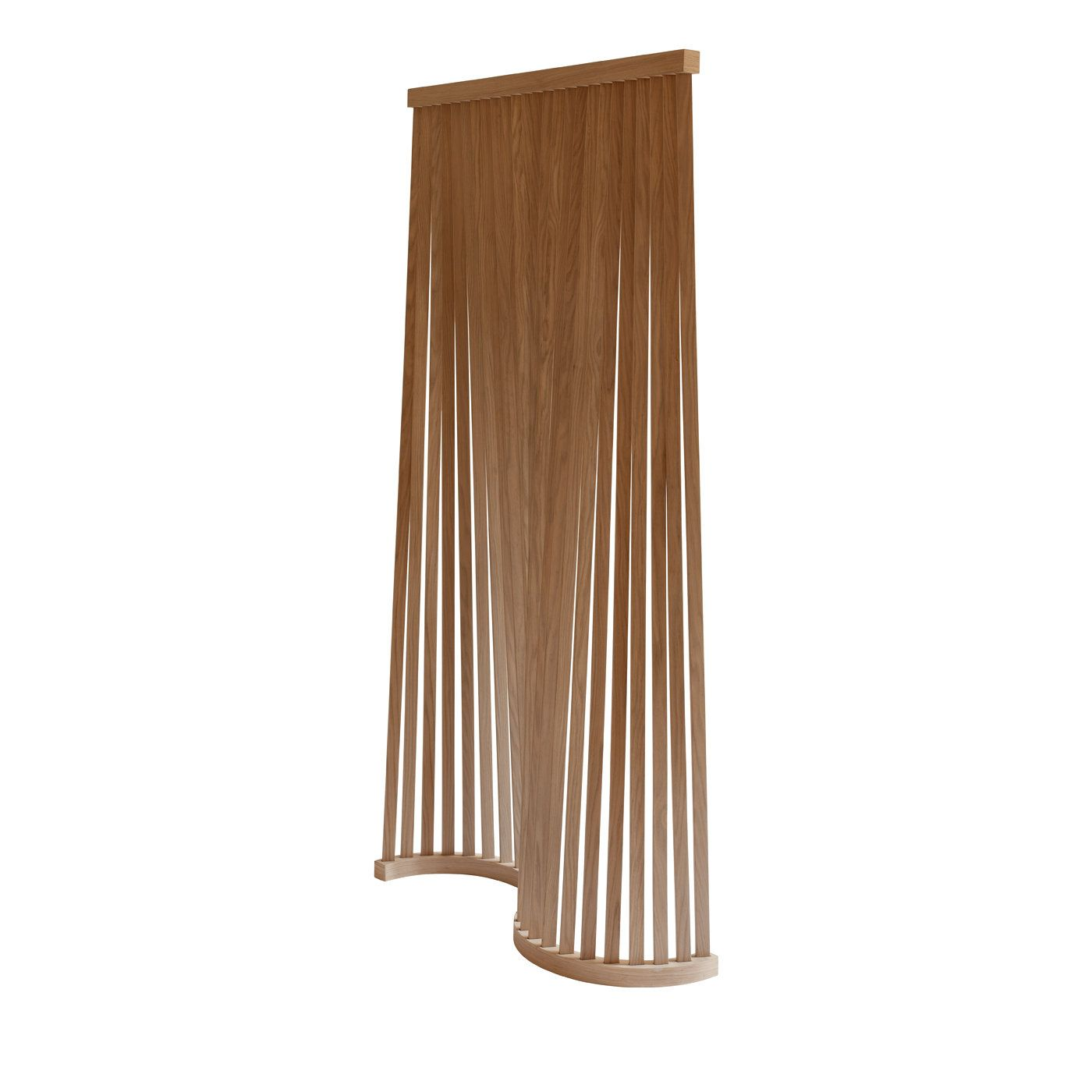 Mori is a furniture piece that expresses the opposite aesthetics of full and empty. Its appearance depends on where you look. As in a forest, some trees are visible while others aren't, we enjoy the environment without distinguishing individual forms. This room divider by Slow Wood consists of a self standing structure in solid ash wood, composed of two crossbeams – one S-shaped at the bottom and a straight one at the top – to which woods strips are applied conferring fluidity, sinuosity…