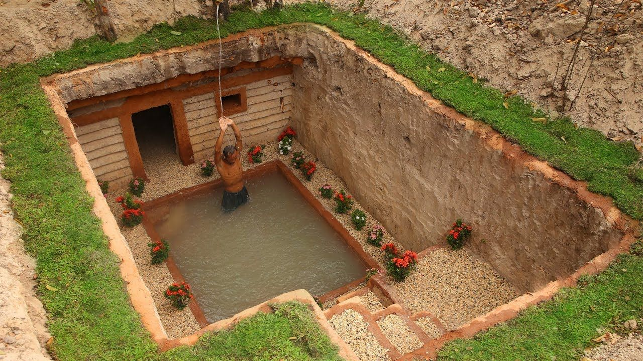Dig To Build Most Awesome Underground House And Underground Swimming Pool Underground Swimming Pool Underground Homes Underground Pool