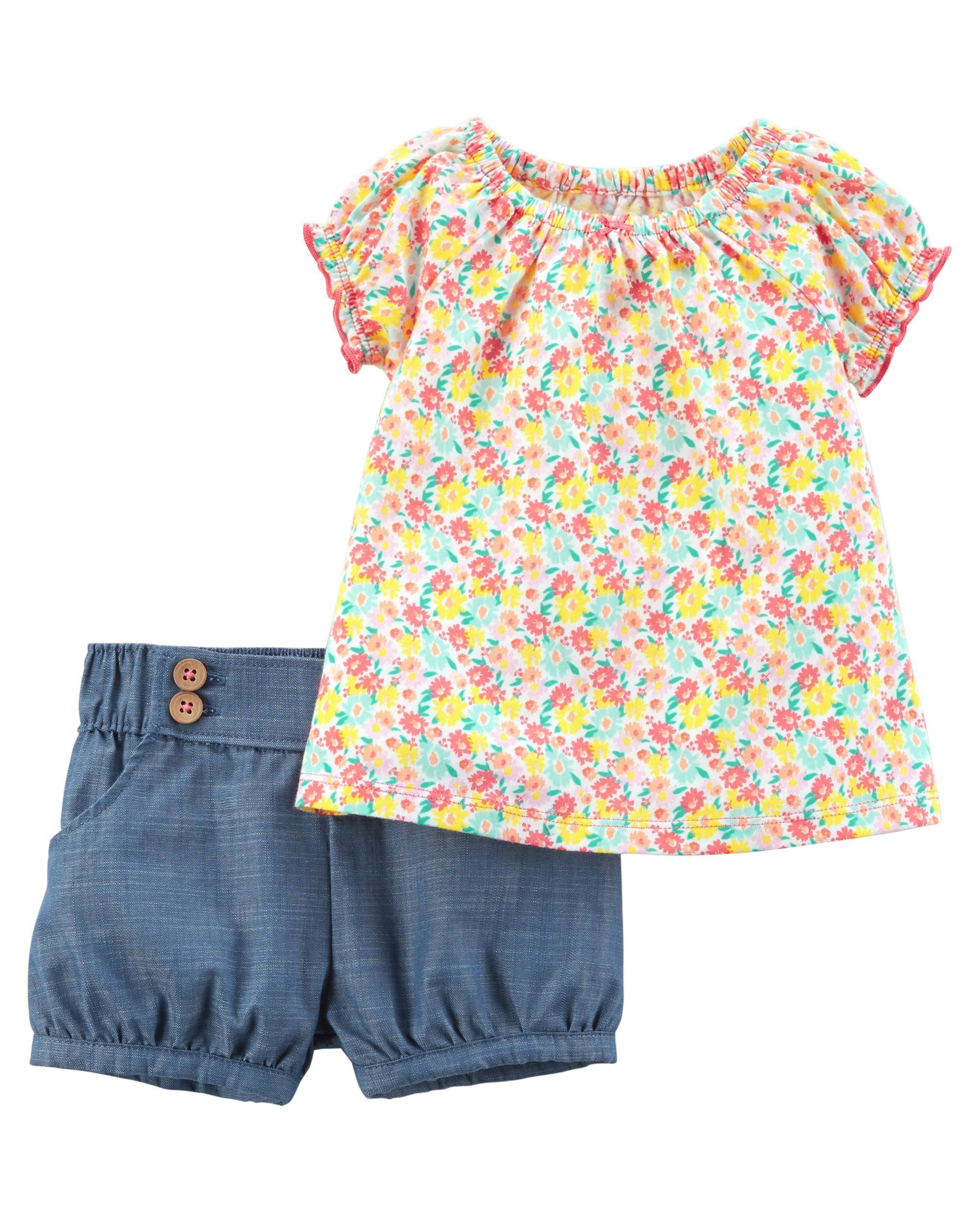 Girls Shorts Set with Belt Floral top for Kids Toddlers Turkish Clothes