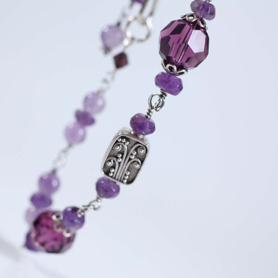 amethyst bracelet sterling silver one of a kind by Phaness on Etsy, $34.00