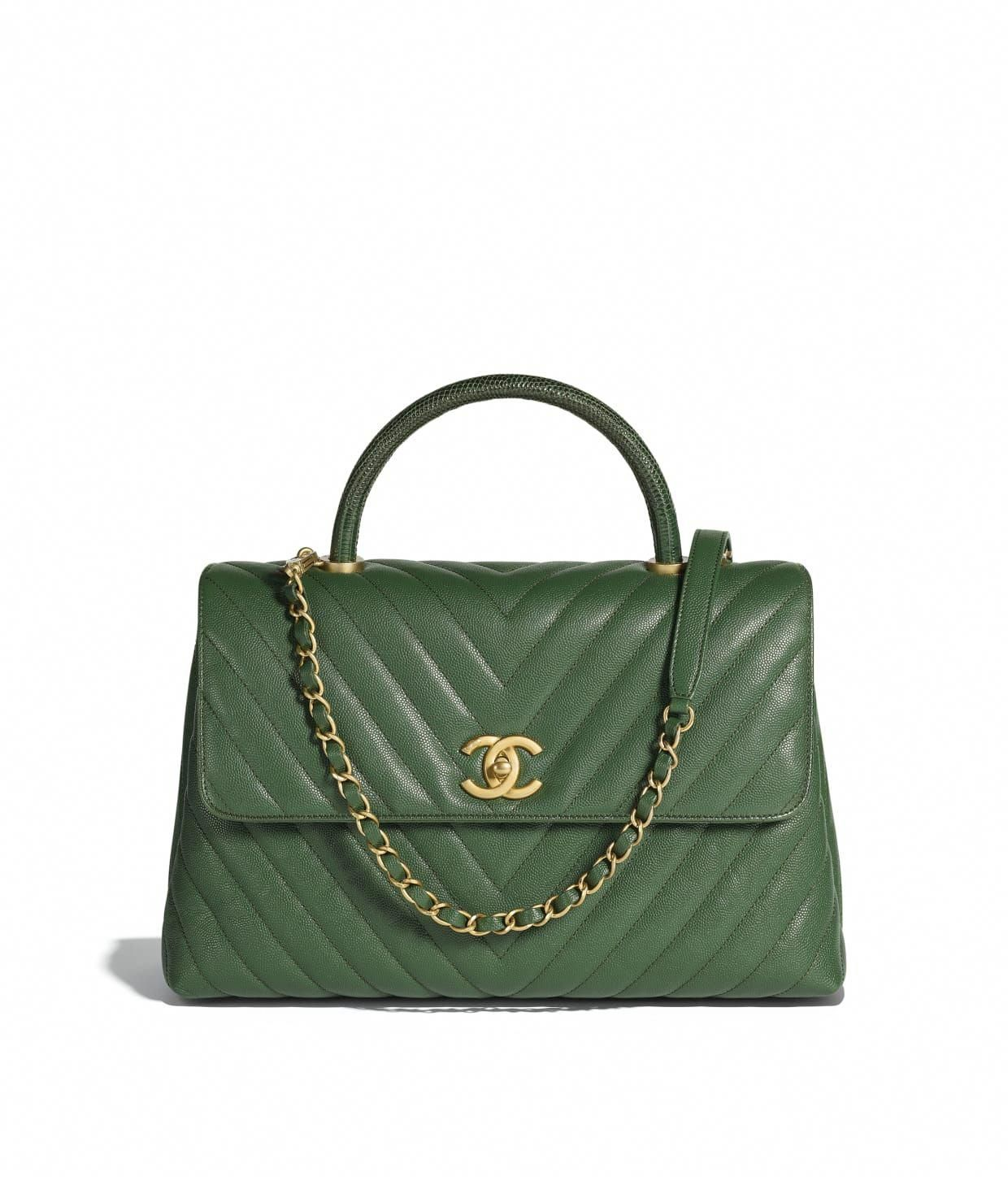 fd5e809e1a55 Grained Calfskin, Lizard & Gold-Tone Metal Dark Green Large Flap Bag with Top  Handle | CHANEL