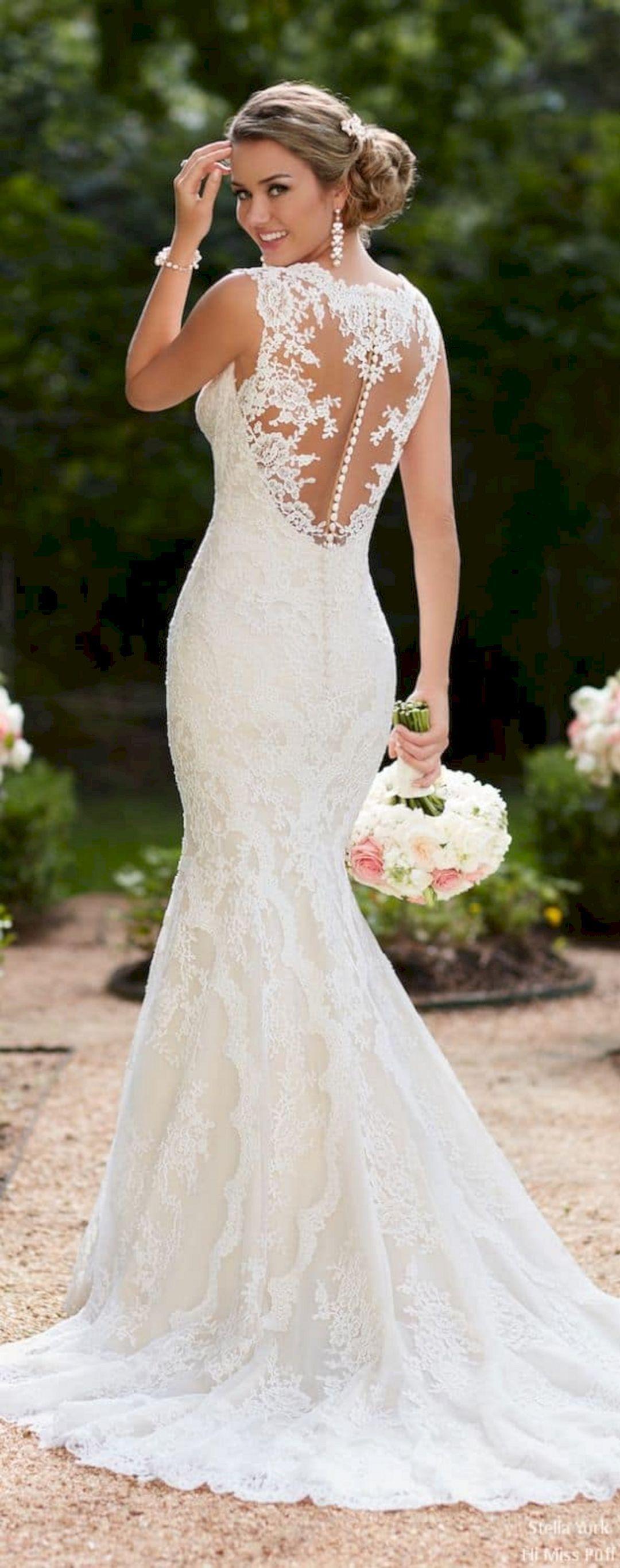 beautiful white lace wedding dress open back ideas vestito da