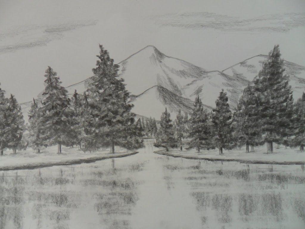 Como Dibujar Un Paisaje A Lápiz Paso A Paso Agua árboles Pinos Y Montañas Landscape Drawings Landscape Nature Sketch