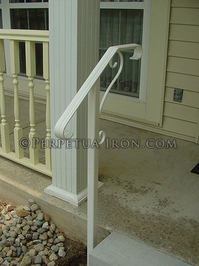 Perpetua Iron One Post Rail With Images Porch Step Railing