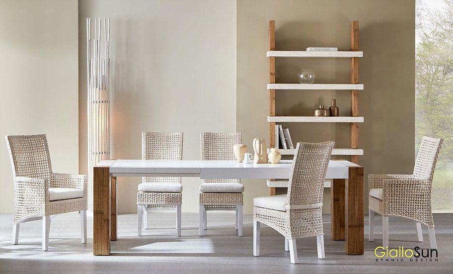 Tavolo Allungabile Giallo : Sala da pranzo con tavolo allungabile tesla in crash bambù e sedie