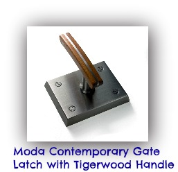 The Moda Contemporary Stainless Steel Gate Latch is a modern gate latch. When you've put the effort and expense into designing and building a unique modern or contemporary wooden gate, you need a modern gate latch to complement the design. The Moda Latch is that gate latch! $695.00 each Visit us at ---> http://shop.360yardware.com/Moda-Contemporary-Gate-Latch-with-Tigerwood-Handle-Moda.htm