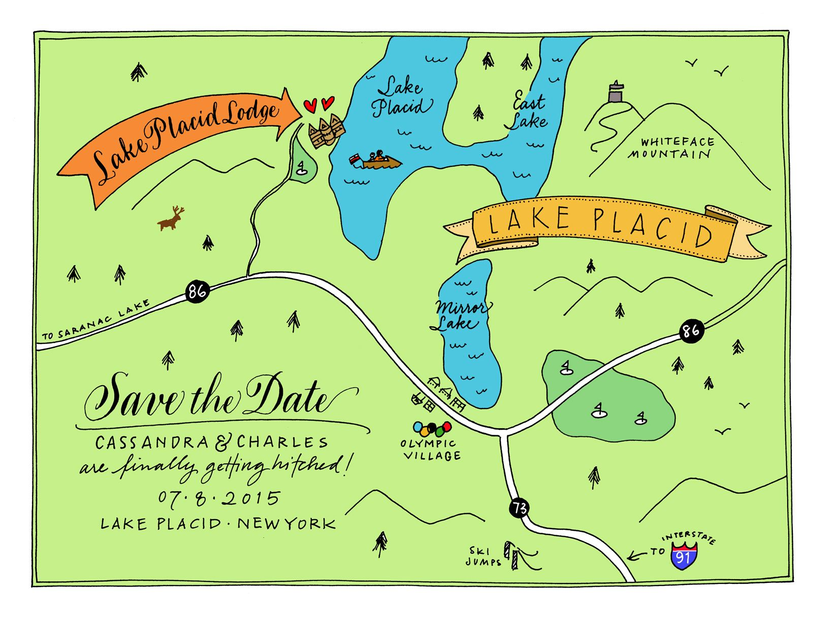 Map of Lake Placid Save the Date | Invitations in 2019 ...