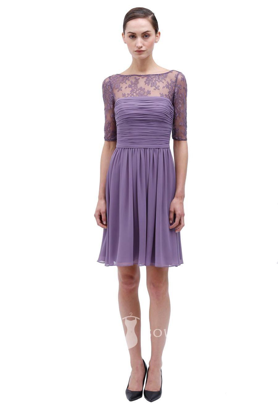 violet bateau neck lace and chiffon half sleeve bridesmaid dress ...