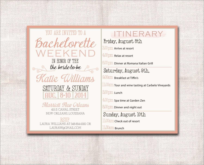 Bachelorette Itinerary Template Free Astonishing Itinerary