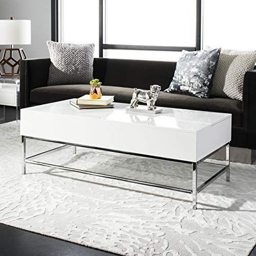 Josef Black Retro Lacquer Floating Top Coffee Table, White