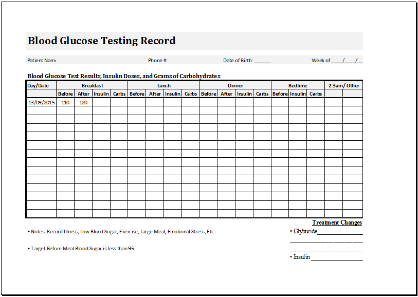 Blood glucose testing record sheet at http://www ...