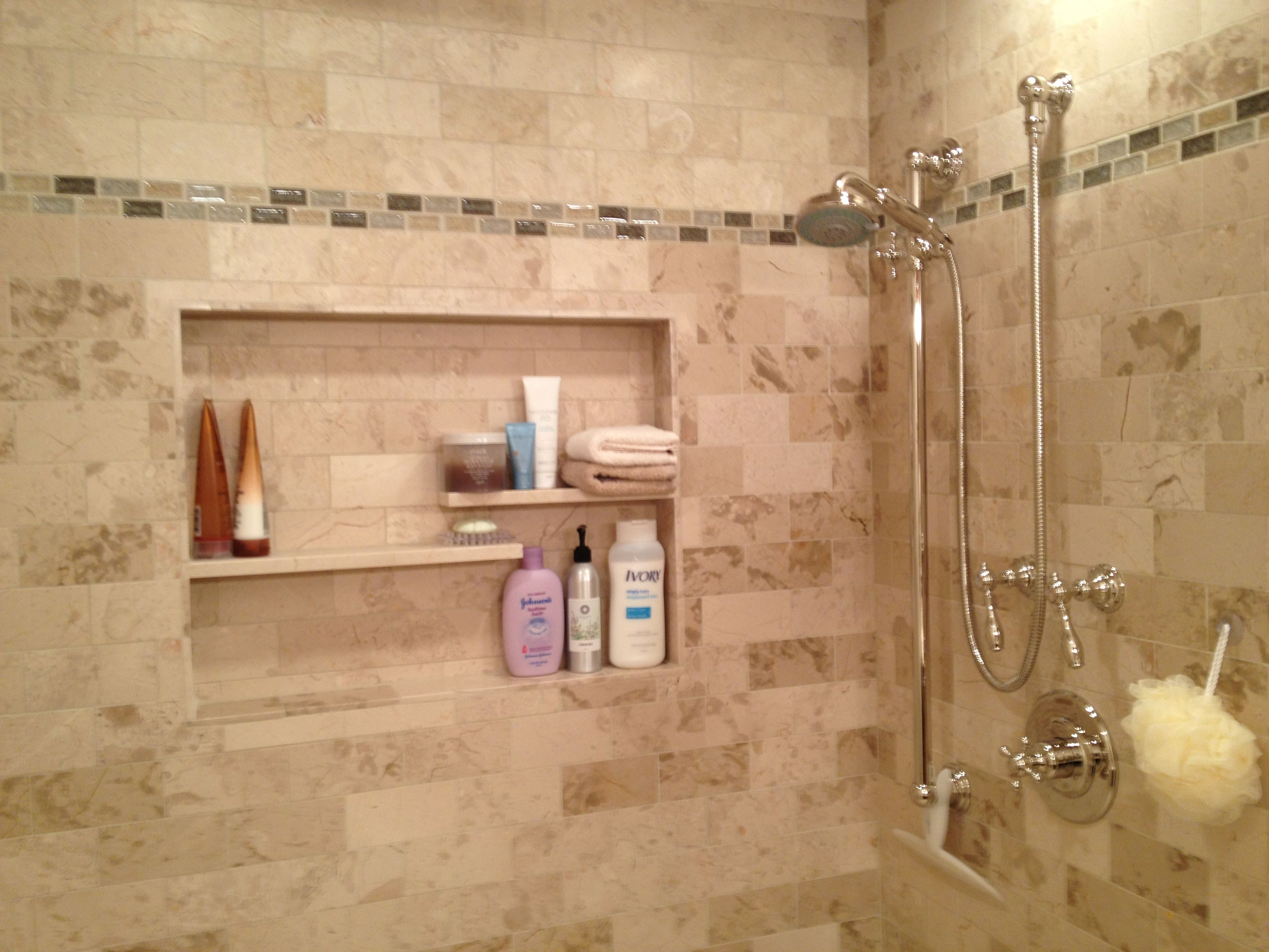 Great Chrome Wall Shower Panels With Shower Niche For Soap And Shampoo Storage In Modern Walk In Shower Designs