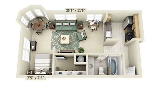 Studio Apartment Floor Plan | Like Architecture & Interior ...