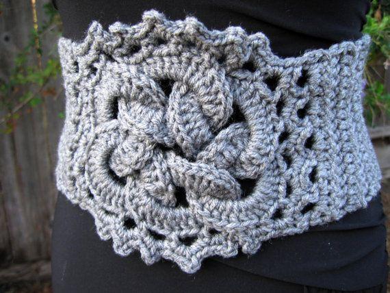 Crochet Heather grey belt, celtic knot corset belt, unique bohemian ...