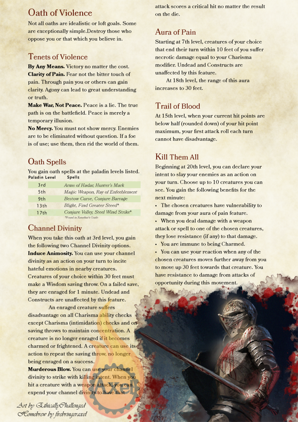 Oath of Violence | D&D | Dnd paladin, Dungeons, dragons classes