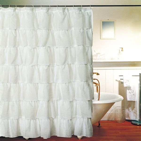 White Gypsy Shabby Chic Ruffled Fabric Shower Curtain @ $20 (would ...