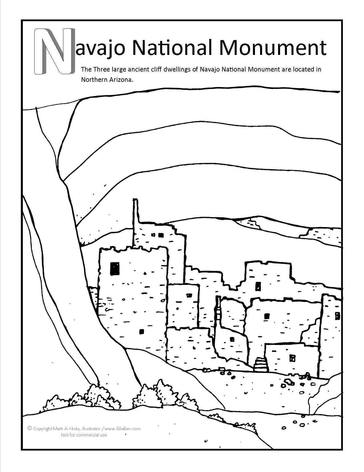 Navajo National Monument Coloring Page Coloring Pages Navajo National Monument National Monuments