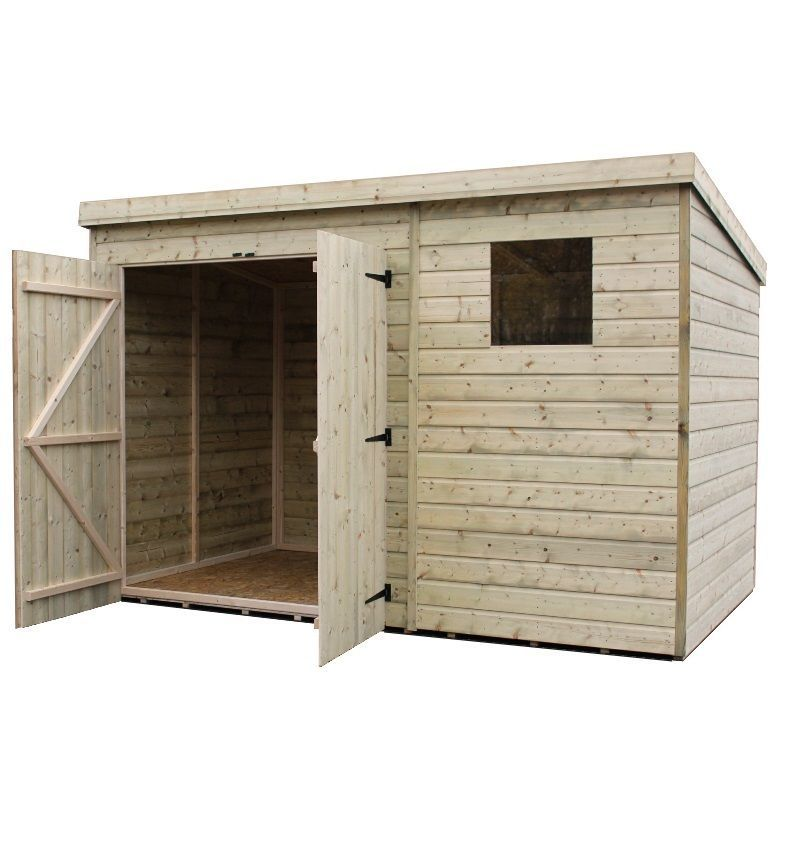 Wooden Garden Shed Pressure Treated Pent Shed With Double Door All Our Sheds And Garden Buildings Are Simple To Construct And Co Garden Shed Wooden Sheds Shed