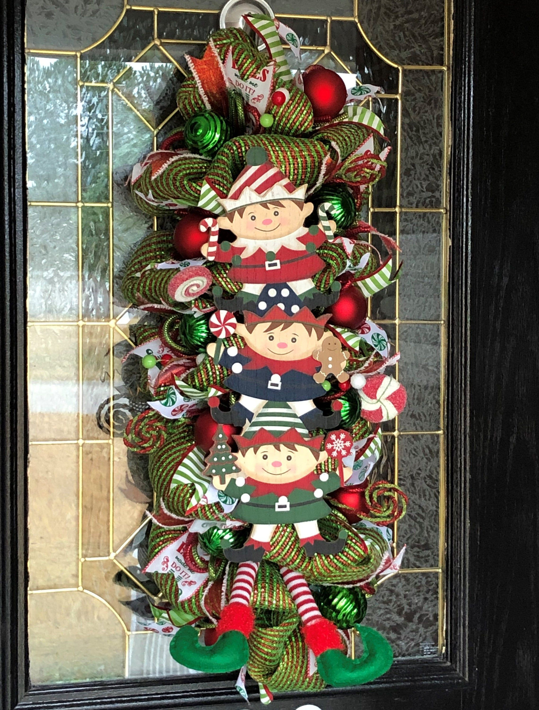 Christmas Elf Swag, Elf Holiday Swag, Stacked Elves ...