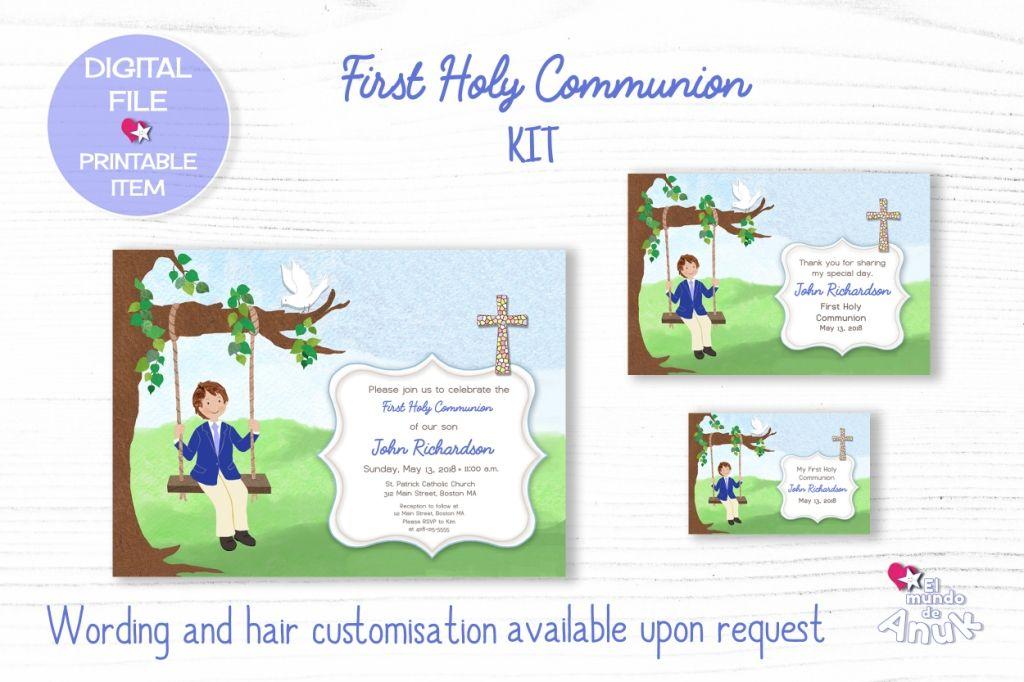 Printable Kit, Communion Favor Tags, Boys Communion