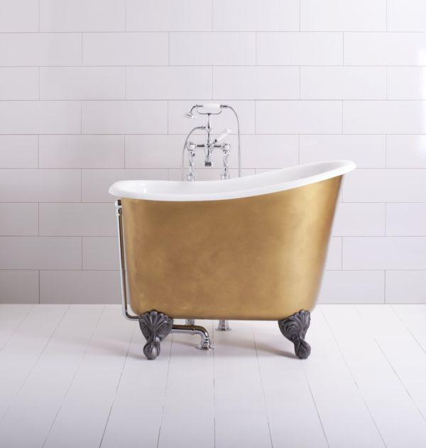kleine badewannen freistehend goldene farbe
