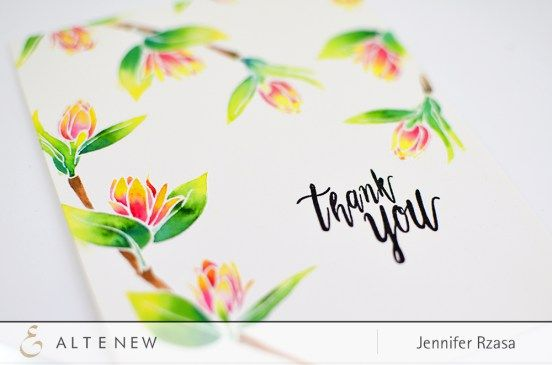 Thank You card with a nice tone of colors featuring our newest stamp set, Floral Spring. Check our blog to see more information. www.altenew.com