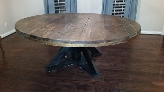 This Large Round Wooden Dining Table Seats 8 10 People Comfortably The Table Creates A Unique Large Round Dining Table Rustic Round Dining Table Dining Table