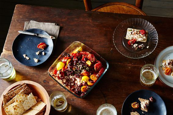 Baked Olive, Tomato, and Feta Dip
