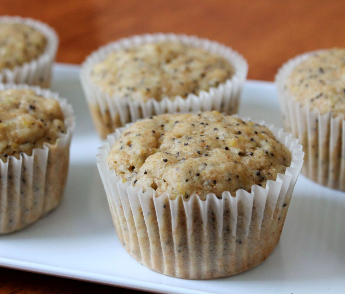 Lemon poppy seed muffins - substitute chia seeds, coconut oil and less maple syrup
