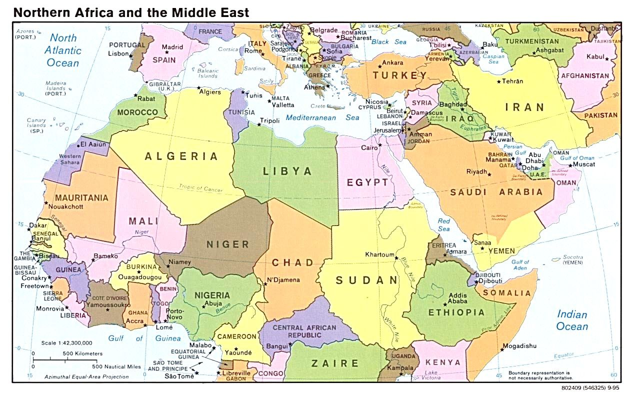 Map Of North Africa And Southwest Asia | Landkarte, Norweger ...