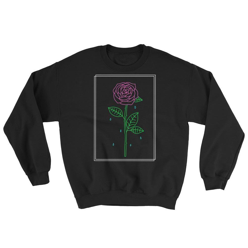 7a904aad2c0206 Crying Rose Crewneck Sweatshirt Black