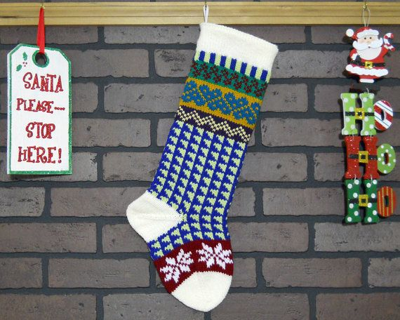 Hand Knit Christmas Stocking in Off-White, Fair Isle Knit Stocking ...