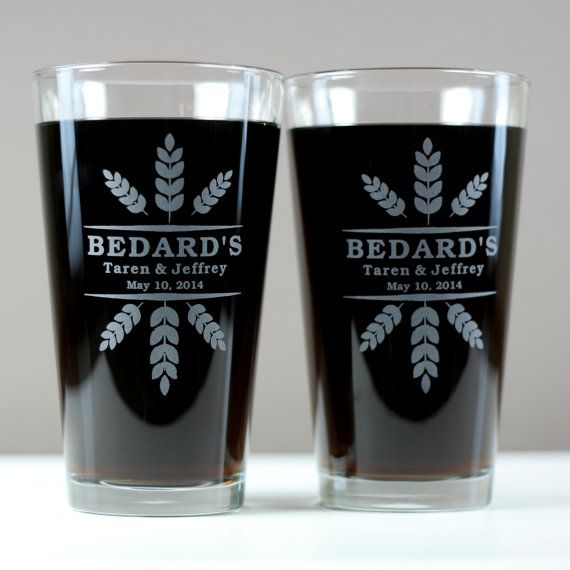 Newlywed glasses with wheat crowns art set by GlassBlastedWeddings, $30.00