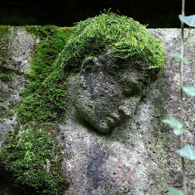 A trop pleurer, l'homme de pierre s'est fait des cheveux... / Main Cemetery. / Cimetière principal. / Hauptfriedhof. / Frankfurt. / Germany, Allemagne.