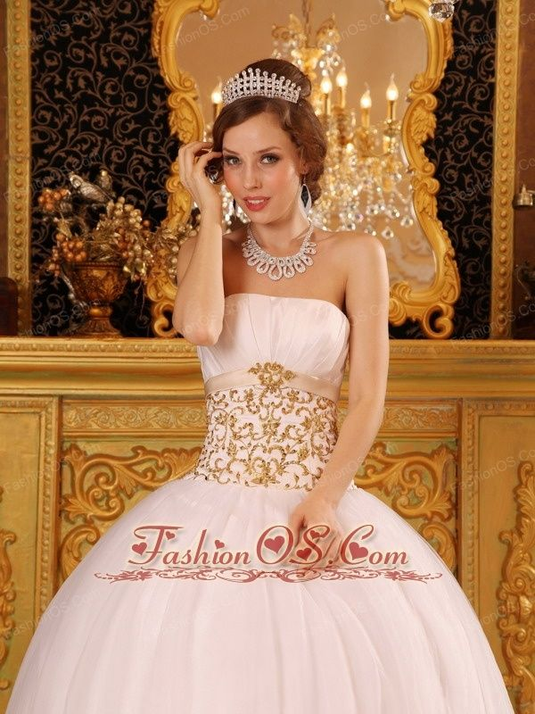 Romantic White Quinceanera Dress Strapless Satin and Tulle Appliques ...
