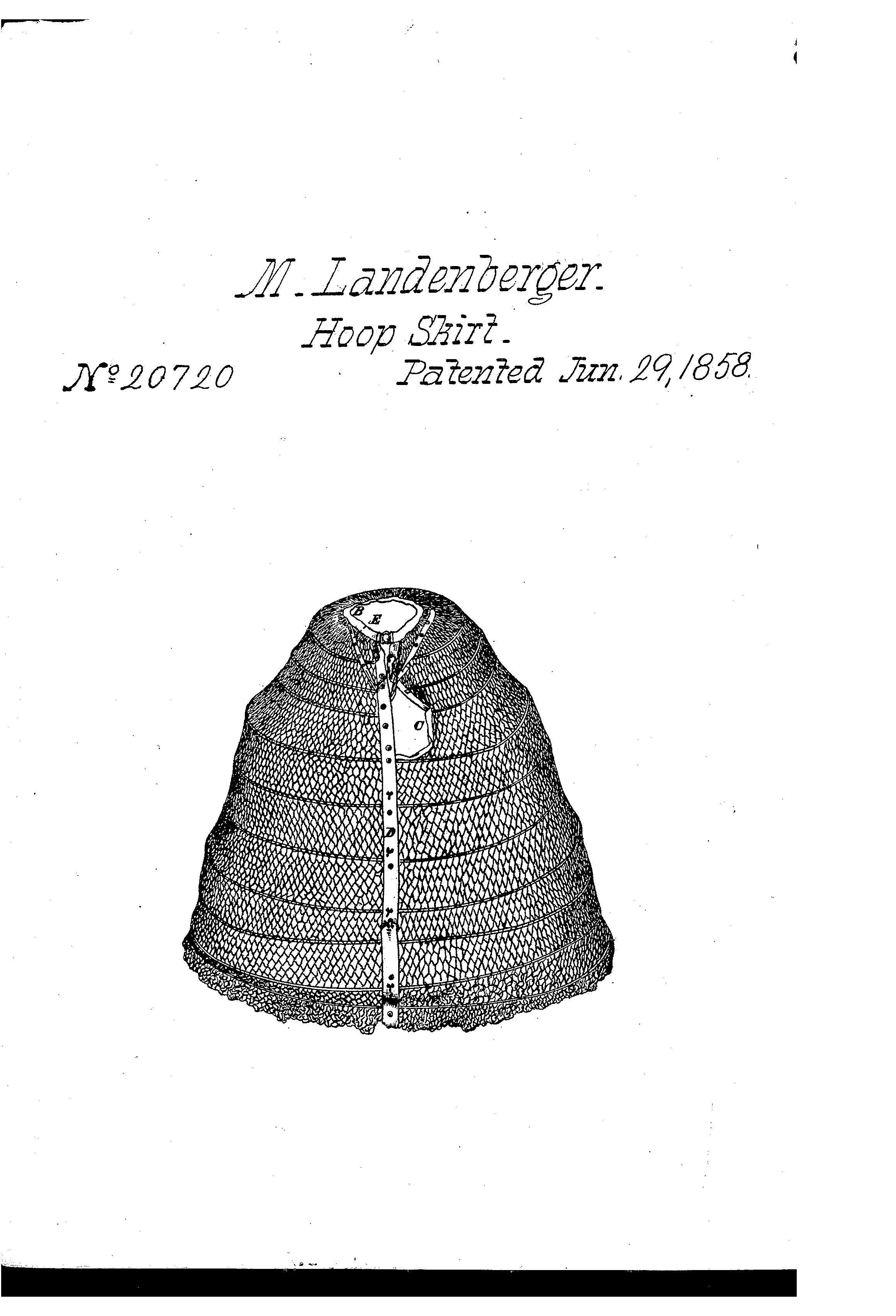 1858, M. Landenberger. Patent 20720. Hoop skirt with a