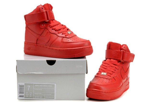 outlet store d88ac f4ccc Pure Red Nike Air Force One High Running Shoe For Women